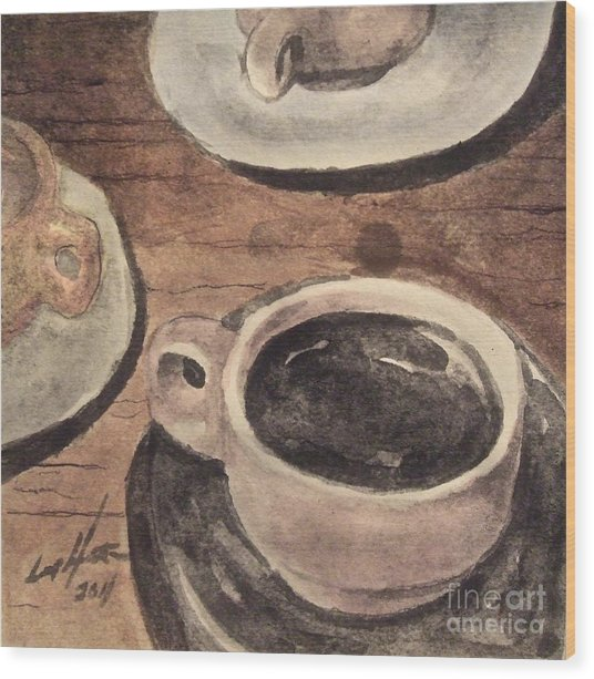 A Morning Cup Wood Print