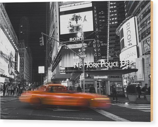 A New York Minute Wood Print