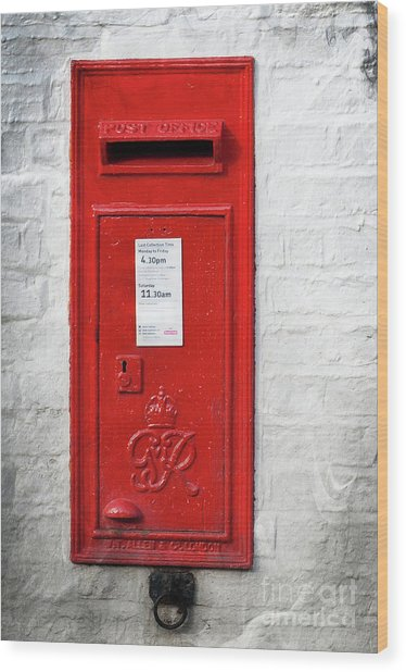A Quaint Essential English Post Box Wood Print