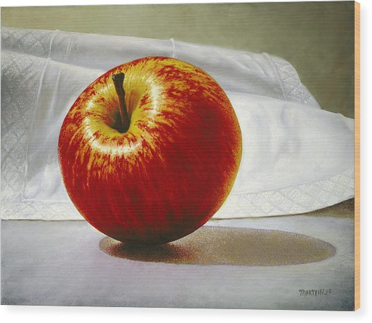 A Red Apple Wood Print