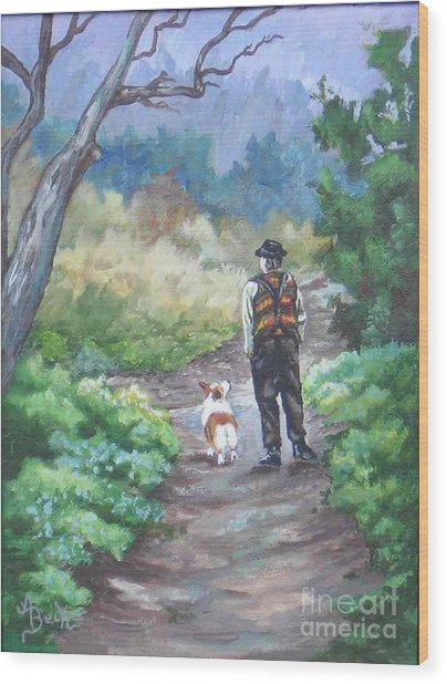 A Slow Walk In The Woods Wood Print by Ann Becker