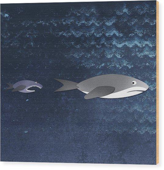 A Small Fish Chasing A Shark Wood Print