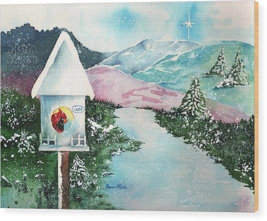 A Snowy Cardinal Day - Christmas Card Wood Print