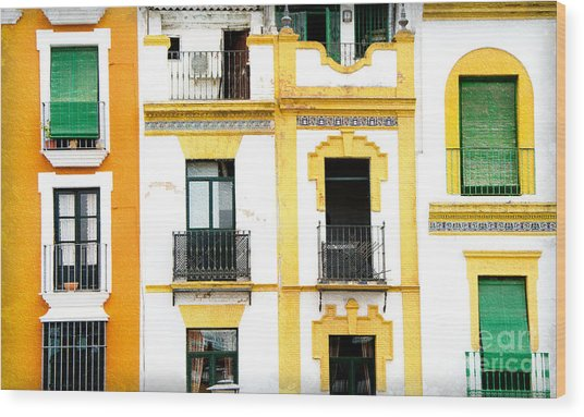 A Spanish Facade Wood Print by Perry Van Munster