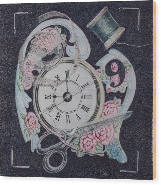 A Stitch In Time Wood Print by Patsy Sharpe