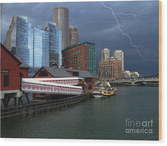 A Storm In Boston Wood Print