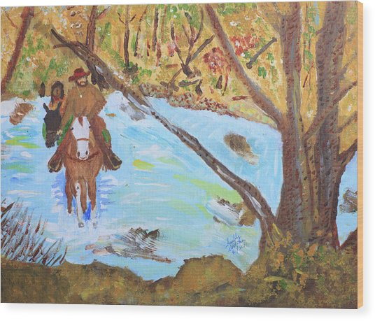 A Trapper And His Indian Lady Crossing A Stream Wood Print