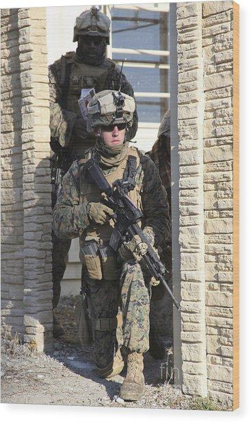 A U.s. Marine Provides Security While Wood Print