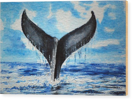 A Whales Tail Wood Print