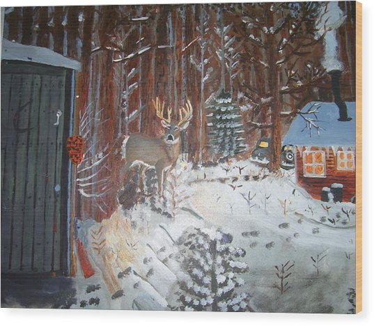 A Whitetail Buck In Back Of Cabin In The Snow Wood Print