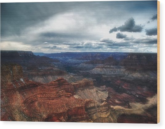 A Winter Scene From The South Rim Of Grand Canyon National Park.  Wood Print by C Thomas Willard