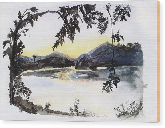 Aare Am Abend Wood Print by Jana Goode