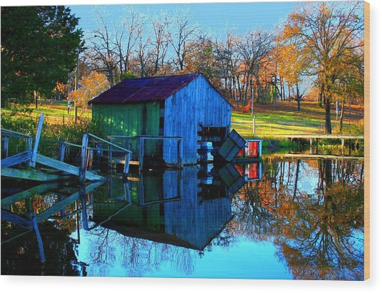 Abandoned Boat House Wood Print by Carrie OBrien Sibley