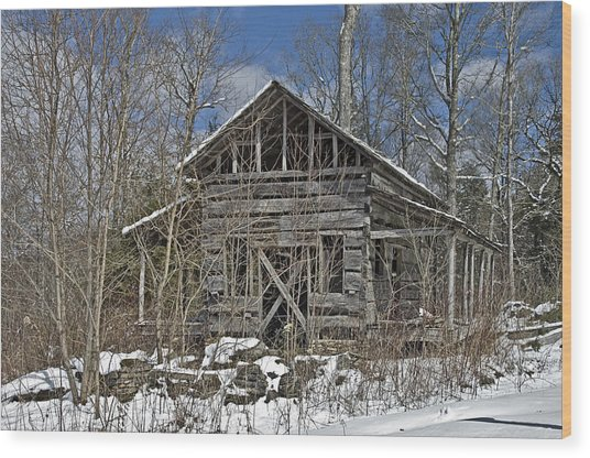 Abandoned House In Snow Wood Print