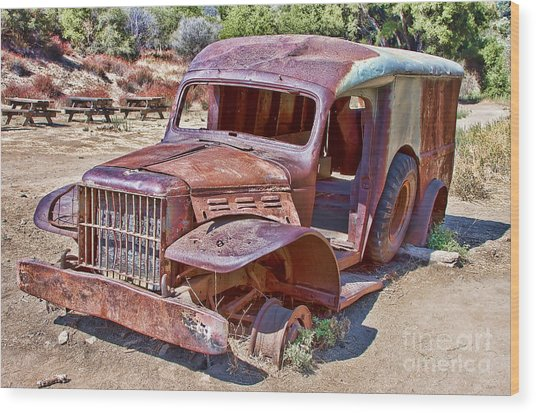 Abandoned Medic Truck Wood Print