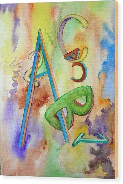 Abc And 123 Wood Print