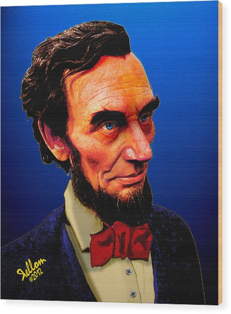 Abe Lincoln Blue Wood Print by Che Rellom