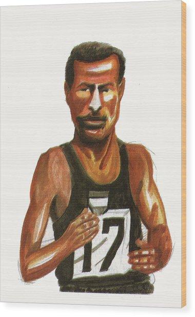 Abebe Bikila Wood Print