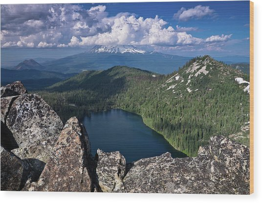 Above Castle Lake Wood Print