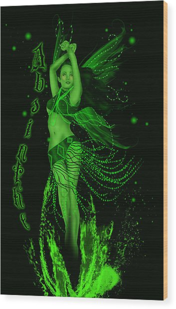 Absinthe Green Fairy Wood Print by Ava Vongoth & Absinthe Green Fairy Digital Art by Ava Vongoth