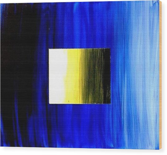 Abstract 3d Golden Blue  Square Wood Print by Teo Alfonso