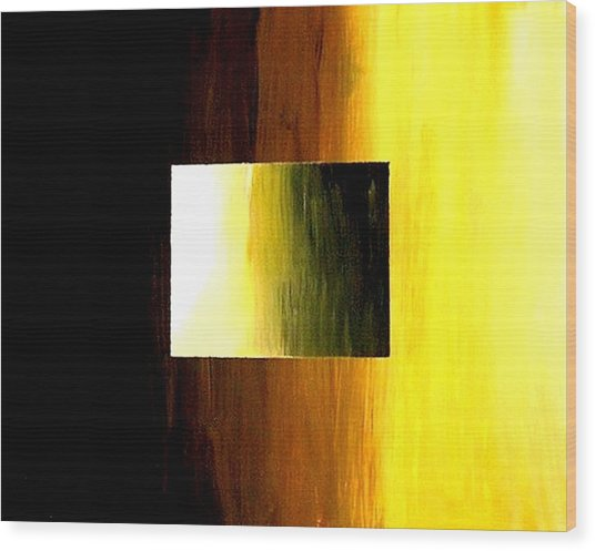 Abstract 3d Golden Square Wood Print by Teo Alfonso