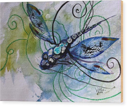 Abstract Dragonfly 10 Wood Print