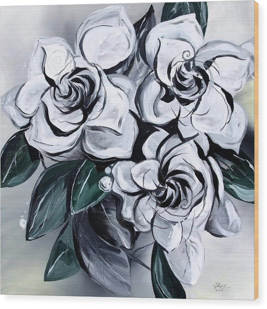 Abstract Gardenias Wood Print