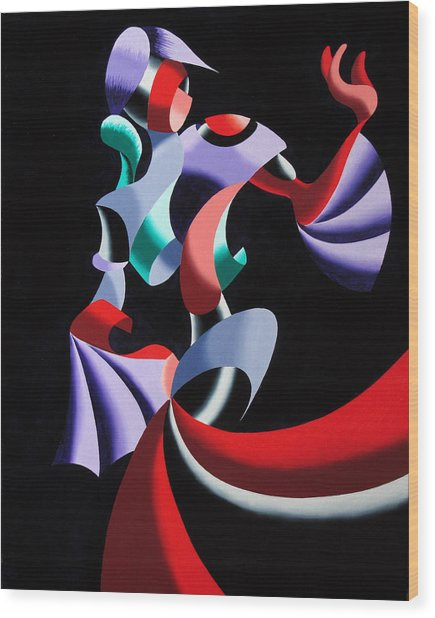 Abstract Geometric Futurist Figurative Oil Painting Wood Print by Mark Webster
