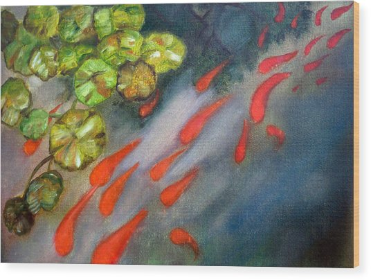 Abstract Koi Wood Print by Ann Marie Napoli