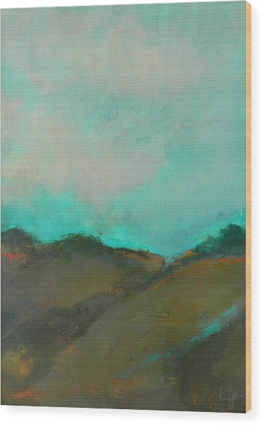 Abstract Landscape - Turquoise Sky Wood Print