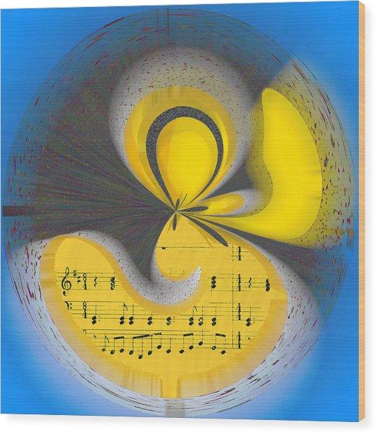 Abstract Music Wood Print