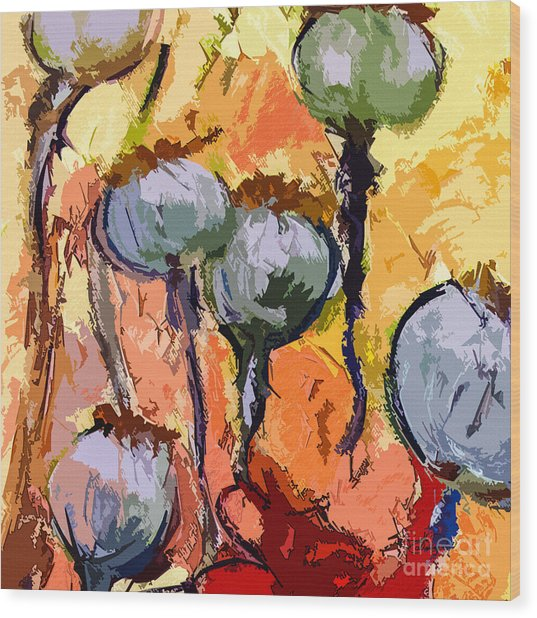 Abstract Poppy Pods Square Format Wood Print by Ginette Callaway