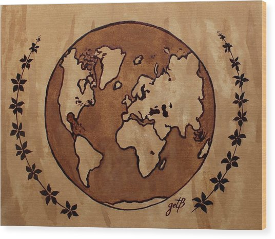 Abstract World Globe Map Coffee Painting Wood Print