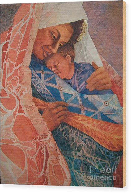 Abuela Two Wood Print by Judith A Smothers