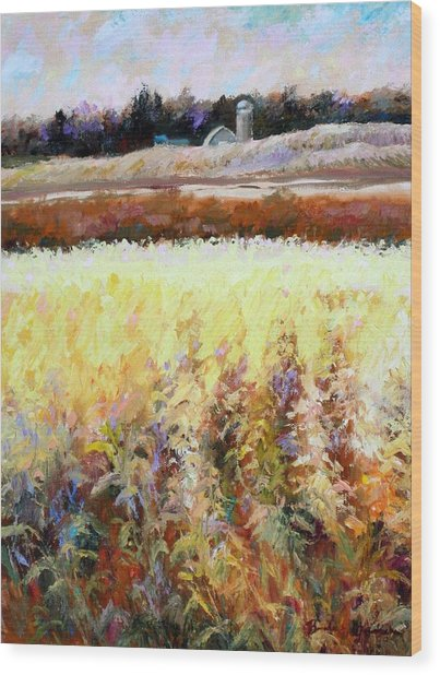 Across The Cornfield Wood Print