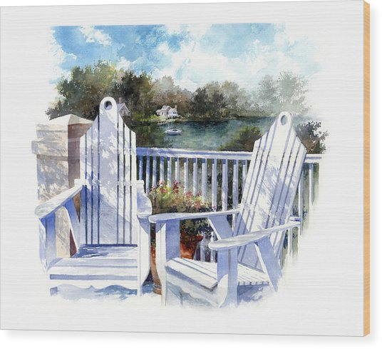 Wood Print featuring the painting Adirondack Chairs Too by Andrew King
