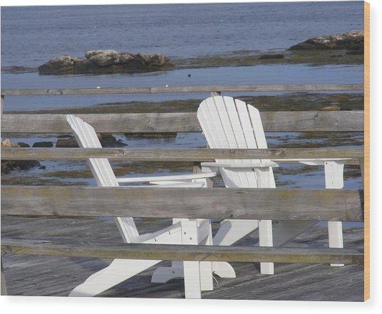 Adirondack Relaxin' Wood Print by Carol Bruno