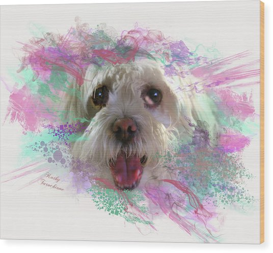 Wood Print featuring the digital art Adopt Me by Kathy Tarochione