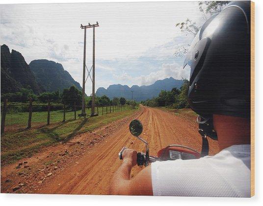 Adventure Motorbike Trip In Laos Wood Print by Thepurpledoor