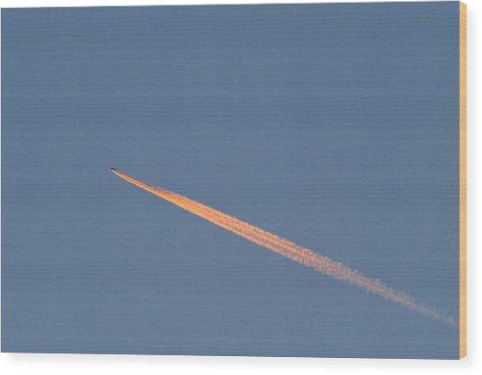 Aeroplane Contrail Wood Print by David Nunuk
