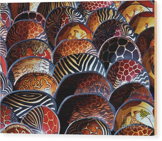 African Art  Wooden Bowls Wood Print