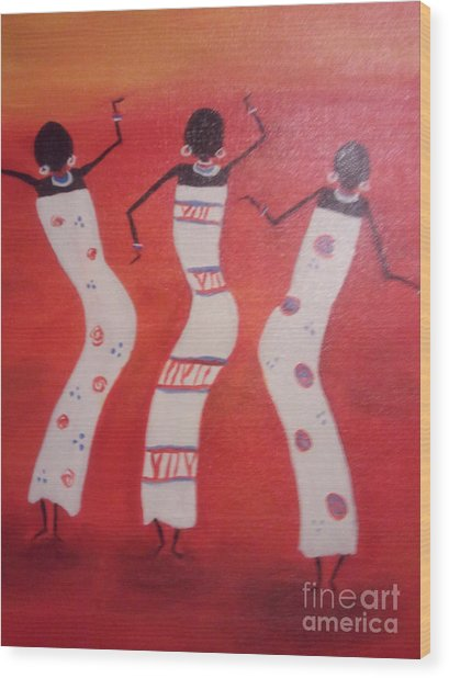 African Dance Wood Print by Lea Kirby