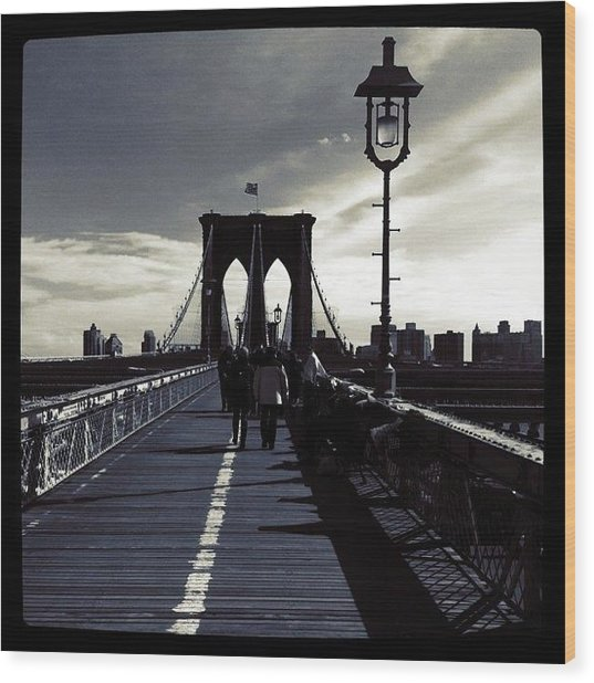 Afternoon On The Brooklyn Bridge Wood Print