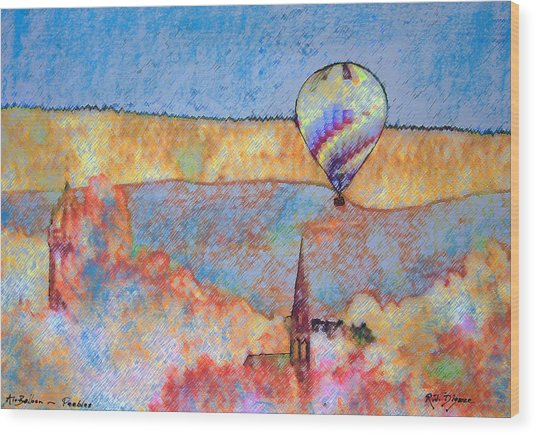 Air Balloon Over Peeebles Wood Print