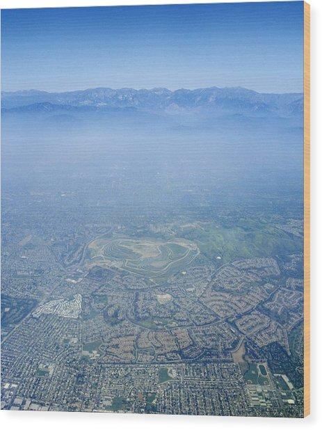 Air Pollution Over Los Angeles Wood Print by Detlev Van Ravenswaay