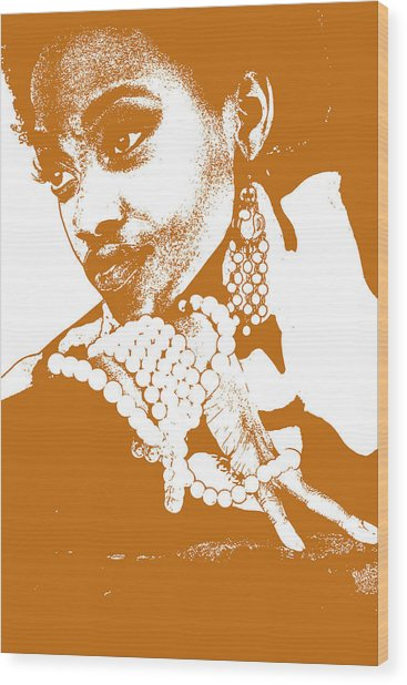 Aisha Brown Wood Print by Naxart Studio