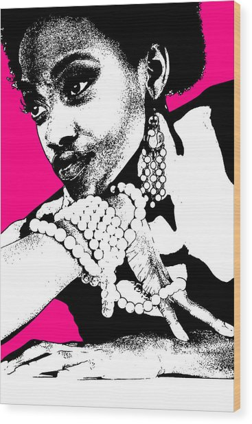 Aisha Pink Wood Print by Naxart Studio