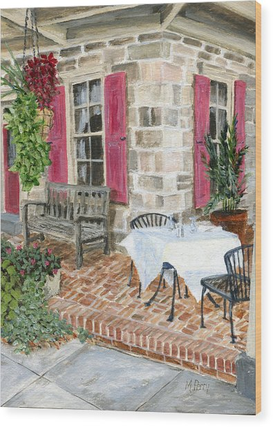 Al Fresco At The Carversville Inn Wood Print