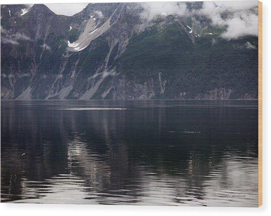 Alaskan Mountain Scene Whales Wood Print